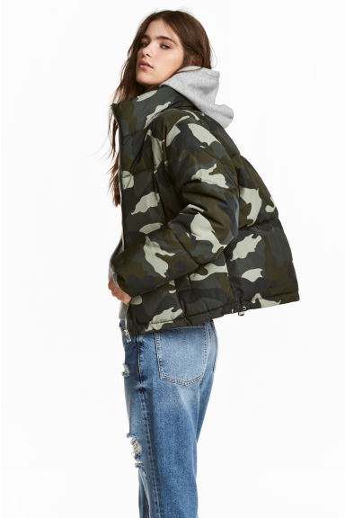 Padded jacket - Khaki green/Patterned - Ladies | H&M