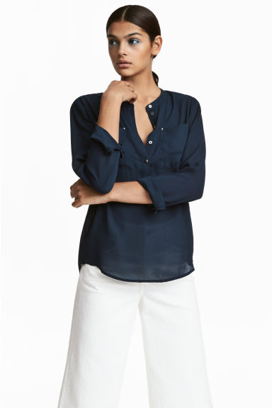 Crêpe blouse - Dark blue - Ladies | H&M CN