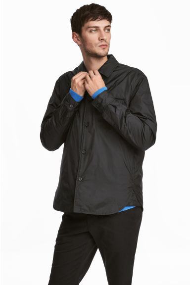 Padded nylon shirt jacket - Black - Men | H&M GB