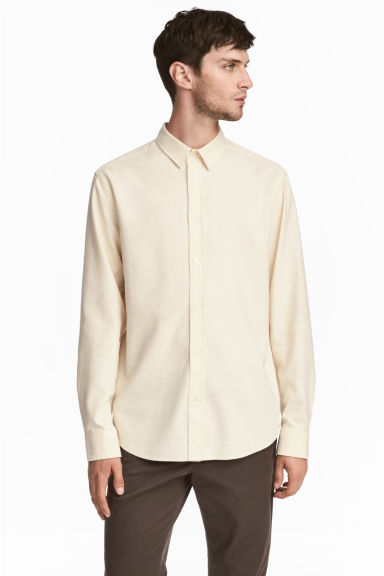Raw silk shirt - Cream -  | H&M