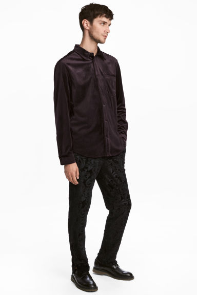 Velour trousers - Black - Men | H&M CN