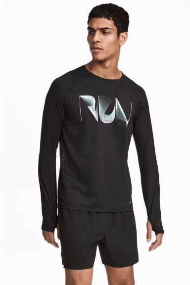 Long-sleeved running top - Black -  | H&M GB