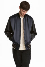 Padded baseball jacket - Dark blue/Black -  | H&M CN 1