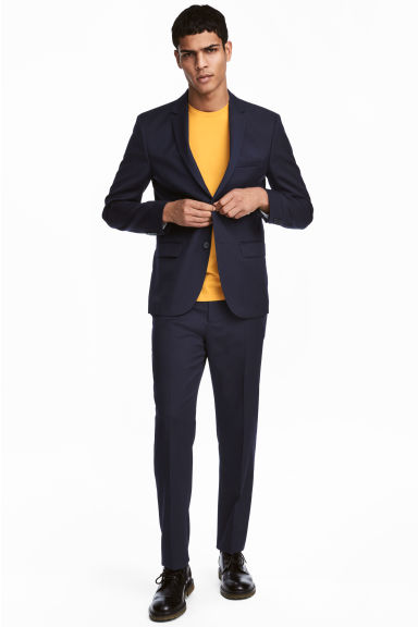 Wool suit trousers Regular fit - Dark blue - Men | H&M GB