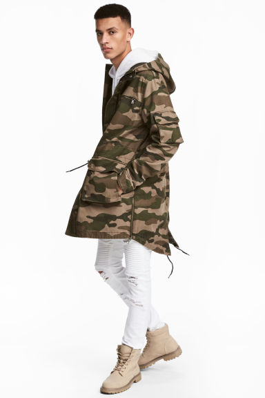 Cotton twill parka - Khaki green/Patterned - Men | H&M 1