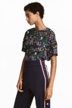 Crêpe top - Black/Floral - Ladies | H&M 1