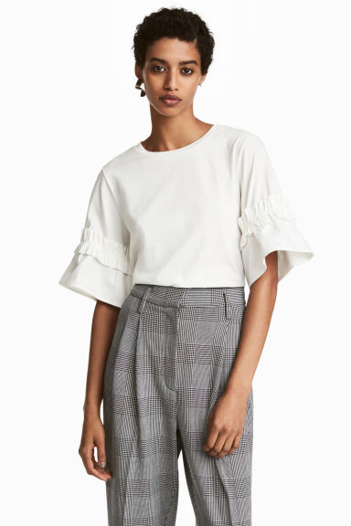 Top with flounced sleeves - White -  | H&M CA