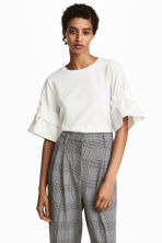 Top with flounced sleeves - White -  | H&M 1