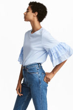 Top with flounced sleeves - Light blue - Ladies | H&M 1