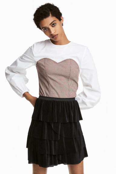 Patterned blouse - White/Dogtooth - Ladies | H&M GB