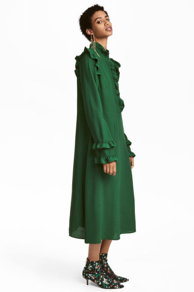 Frill-trimmed dress - Dark green - Ladies | H&M CN 1