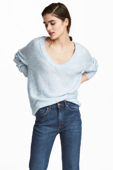 V-neck jumper - Blue - Ladies | H&M GB