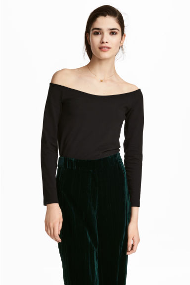 Off-the-shouldertop - Zwart - DAMES | H&M NL