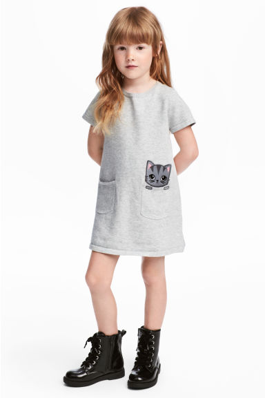 Fine-knit dress - Grey - Kids | H&M CN 1