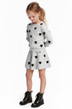 Skirt with hearts - Grey marl/Hearts - Kids | H&M CN 1