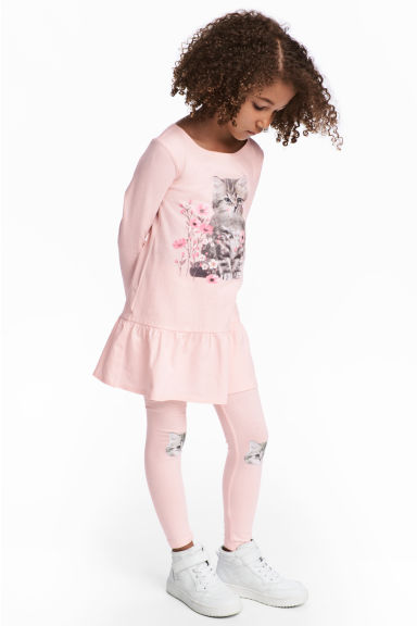 Dress and leggings - Light pink/Cat - Kids | H&M