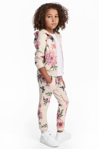 Sweatpants - Light beige/Floral - Kids | H&M