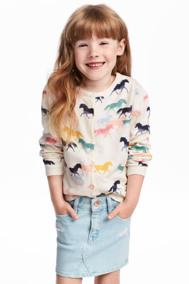 Cotton cardigan - Natural white/Horses - Kids | H&M
