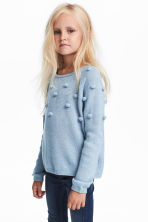 Knitted jumper with pompoms - Light blue/Glittery -  | H&M 1