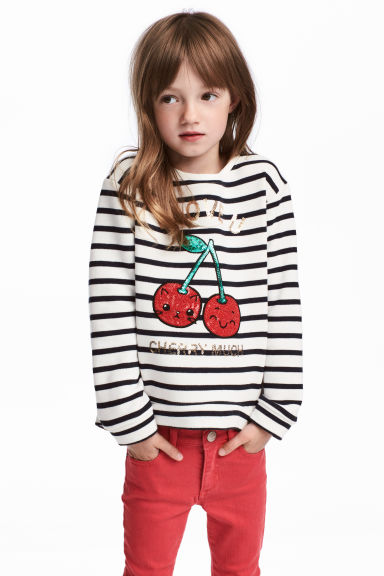 Sweatshirt with sequins - Natural white - Kids | H&M CN 1