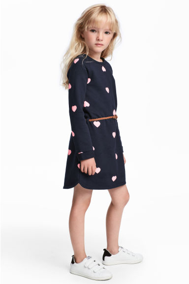 Sweatshirt dress - Dark blue/Hearts -  | H&M CN 1