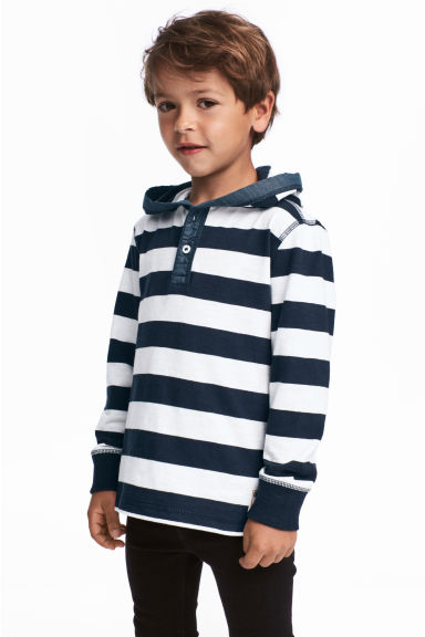 Jersey hooded top - Dark blue/White striped - Kids | H&M CN