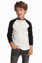 Henley shirt - Natural white/Black marl -  | H&M 1