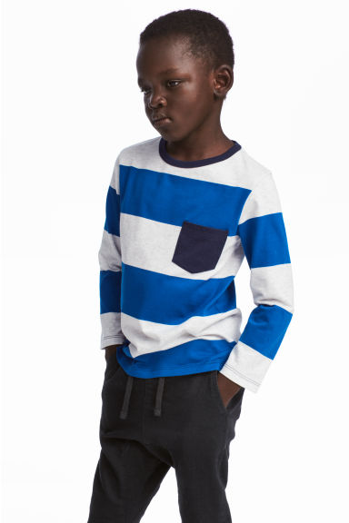 Long-sleeved T-shirt - Bright blue/white striped -  | H&M CA 1