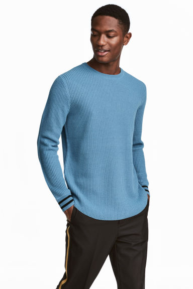 Textured Wool-blend Sweater Model