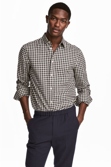 Shirt Regular fit - Black/White checked - Men | H&M CN 1