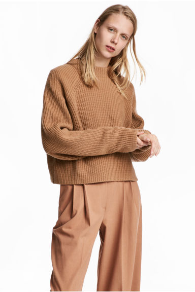 Knitted wool jumper - Camel - Ladies | H&M 1