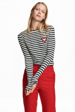 Jersey top with beaded detail - Dark blue/White striped - Ladies | H&M CN 1