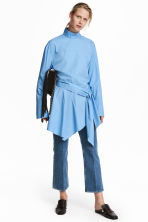 Flounce-hemmed cotton shirt - Light blue - Ladies | H&M 1