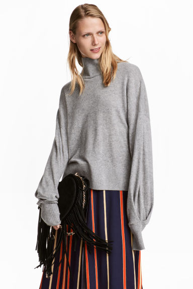 Cashmere Turtleneck Sweater - Gray melange - Ladies | H&M CA 1