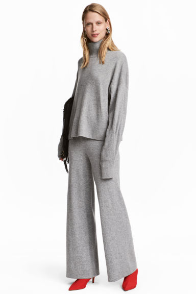 Wide cashmere trousers - Grey marl - Ladies | H&M CN 1