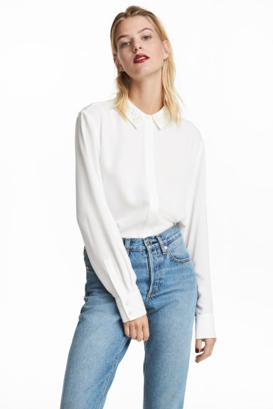 Shirt with appliqués - White - Ladies | H&M CN