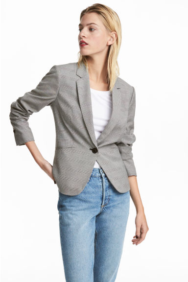 Fitted jacket - Light grey/Checked - Ladies | H&M IE