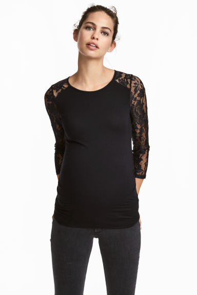 MAMA Jersey top with lace - Black - Ladies | H&M CN 1