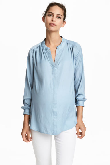 MAMA Jacquard-weave blouse - Light blue - Ladies | H&M 1