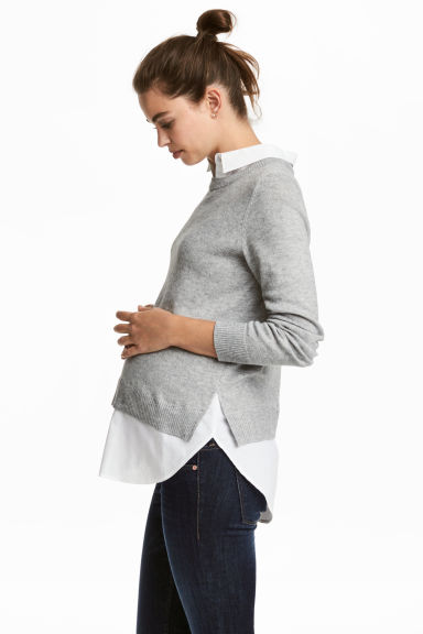 MAMA Sweater with Collar - Gray melange - Ladies | H&M CA 1
