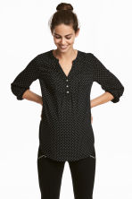 MAMA Patterned Blouse - Black/white dotted - Ladies | H&M CA 1