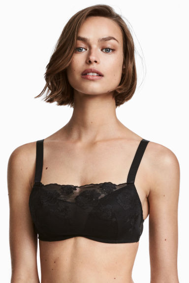 Lace push-up bra top - Black - Ladies | H&M 1
