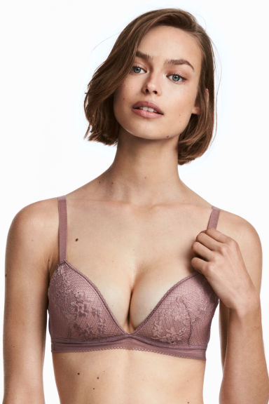 Non-wired push-up bralette - Heather - Ladies | H&M