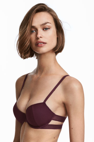 Padded underwired mesh bra - Burgundy - Ladies | H&M