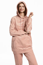 Velour Hooded Top - Powder pink - Ladies | H&M CA 1