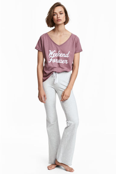 Pyjama top and bottoms - Grey/Plum - Ladies | H&M CN