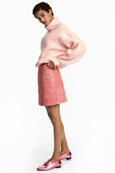 Short suede skirt - Light pink - Ladies | H&M
