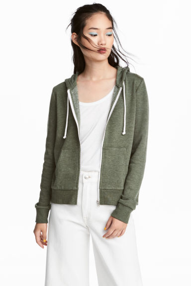 Hooded jacket - Green marl -  | H&M