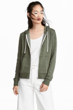 Hooded jacket - Green marl -  | H&M CA 1