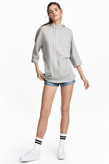 Hooded sweatshirt dress - Light grey marl -  | H&M